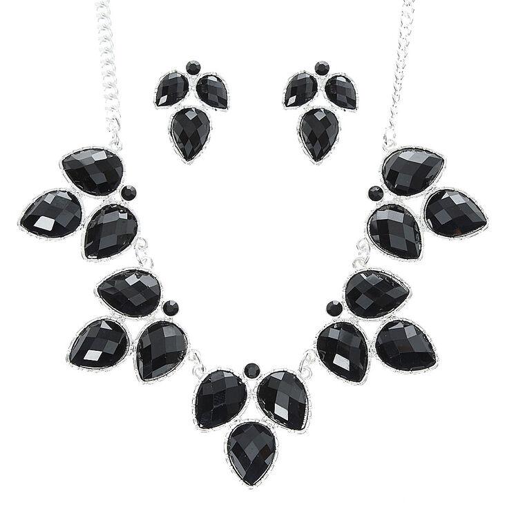 Black Leaf Statement Necklace & Earring Set,