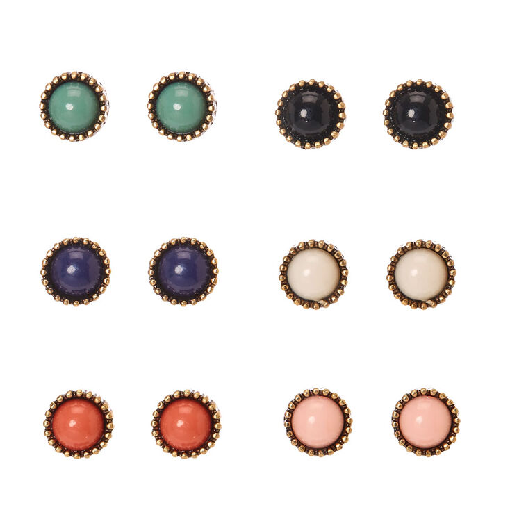 Burnished Gold Tone Framed Round Colored Bead Stud Earrings,