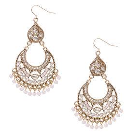 Rustic Gold Stoned Chandelier Drop Earrings,