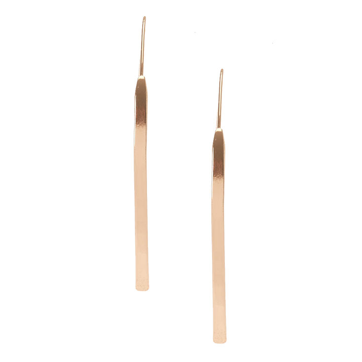 Gold Tone Curved Bar Drop Earrings,