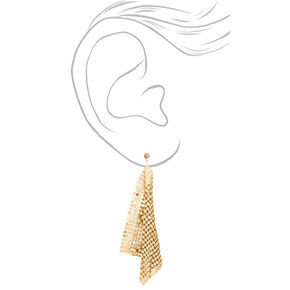 "Gold 4"" Mesh Drop Earrings,"