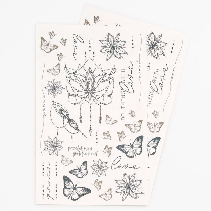 Butterfly Lotus Flower Temporary Tattoos - Black,
