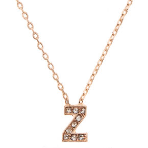 Rose Gold Studded Z Initial Necklace,