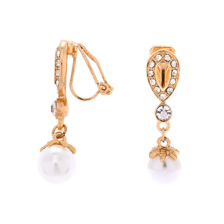 "Gold 1"" Crystal & Pearl Clip On Drop Earrings,"