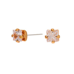 Gold Cubic Zirconia Square Stud Earrings - 3MM,