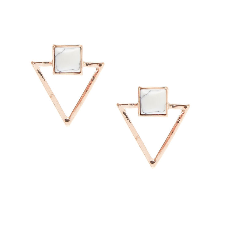Rose Gold & Marble Triangle Stud Earrings,