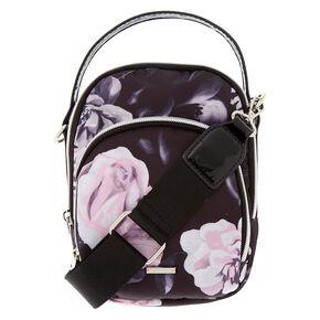 Floral Messenger Crossbody Bag - Black,