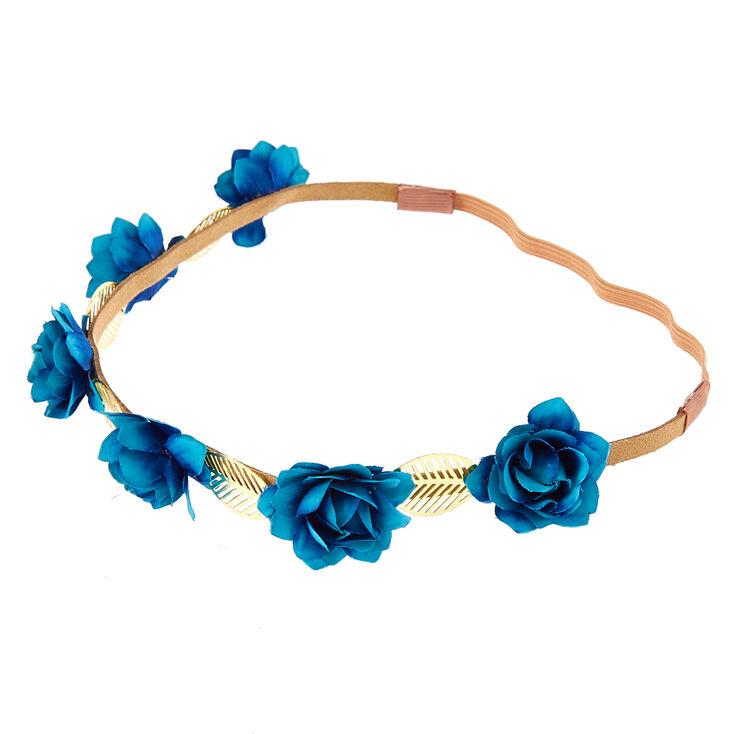 Indigo Roses & Leaves Headwrap,