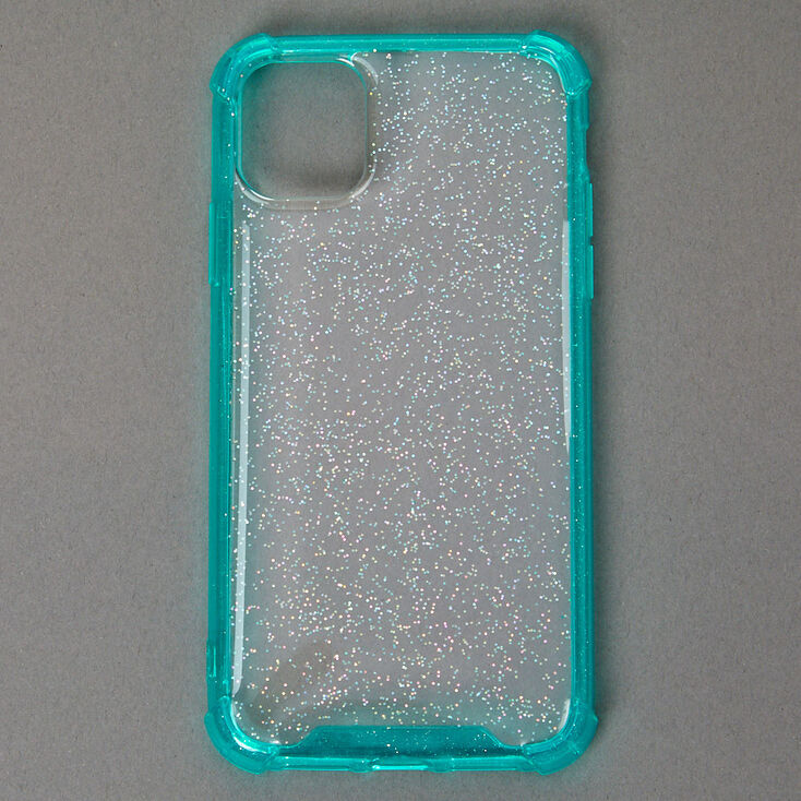 Clear Mint Glitter Protective Phone Case - Fits iPhone 11,