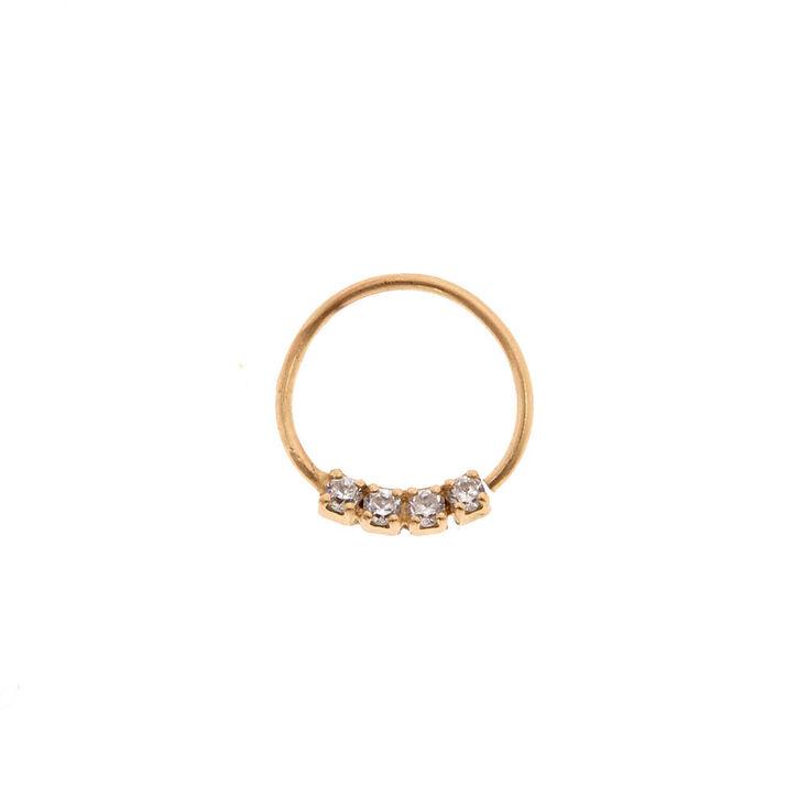 Sterling Silver 24G Gold Crystal Hoop Nose Ring,