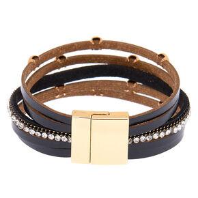 Gold Layered Wrap Bracelet - Black,
