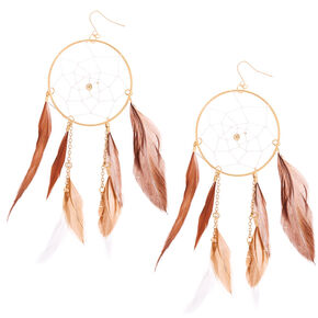 "Gold 5"" Dreamcatcher Earrings - Brown,"