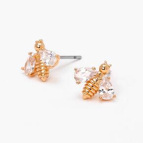 Gold Cubic Zirconia Bee Stud Earrings,