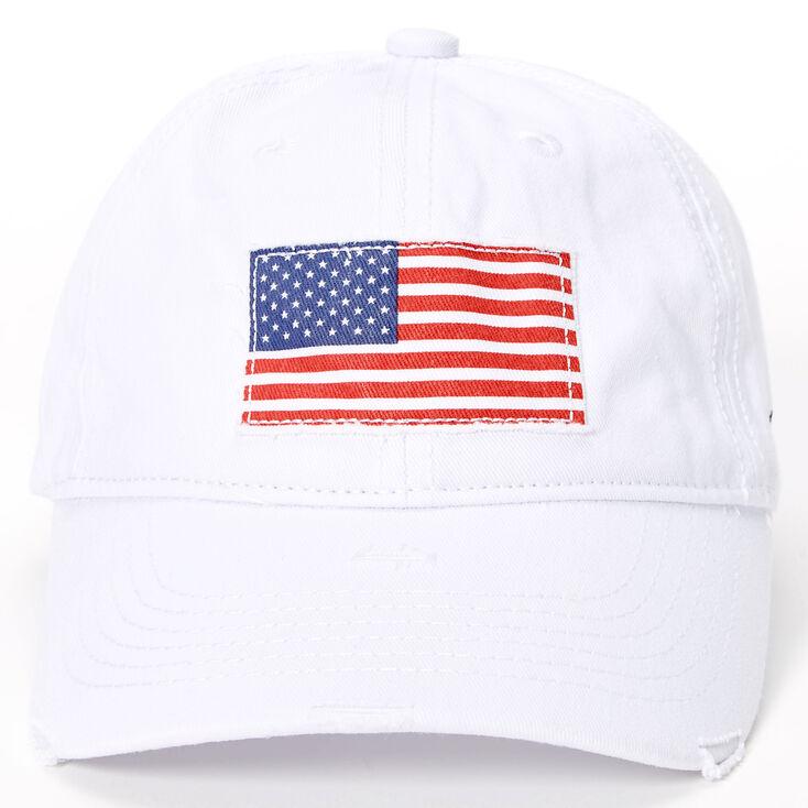 American Flag Baseball Cap - White,