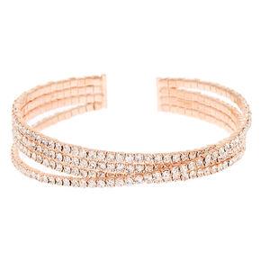 Rose Gold Rhinestone Diagonal Cuff Bracelet,