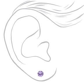 Sterling Silver Cubic Zirconia Round Stud Earrings - Purple, 5MM,