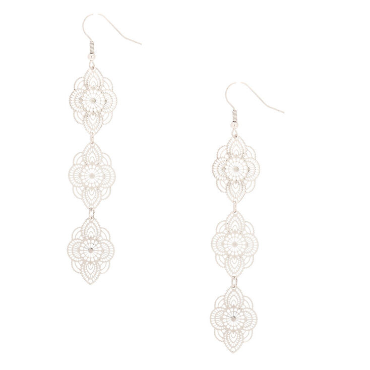 "Silver 3"" Filigree Drop Earrings,"