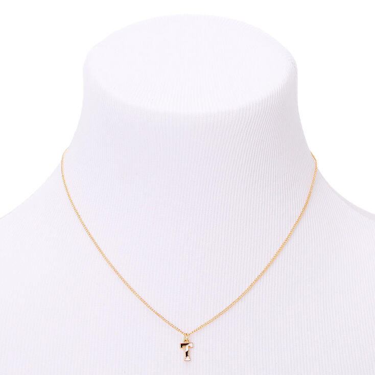 Gold Striped Initial Pendant Necklace - T,