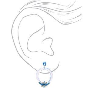 """Silver 2"""" Emebllished Drop Earrings - Blue,"""