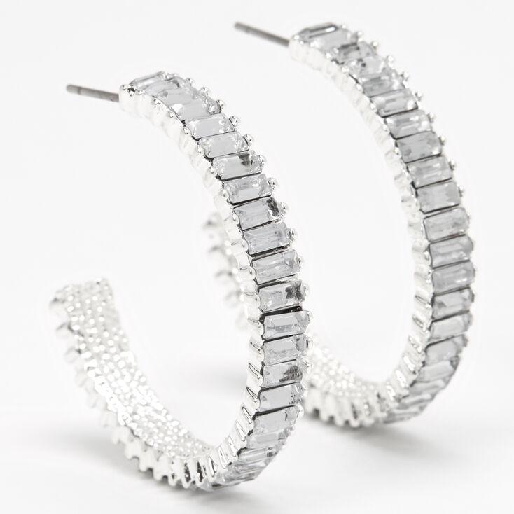 Silver 40MM Crystal Hoop Earrings,