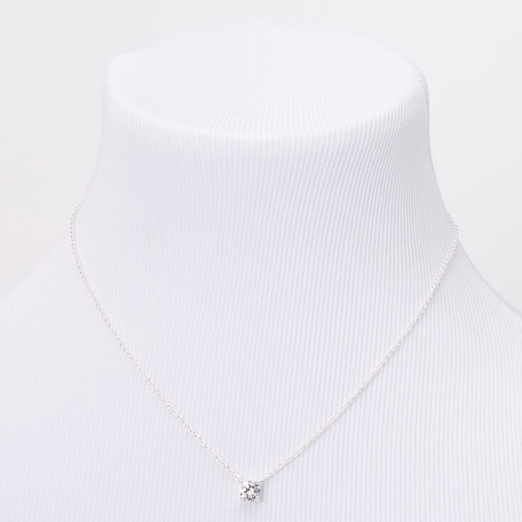 Silver Cubic Zirconia 6MM Single Rhinestone Pendant Necklace,