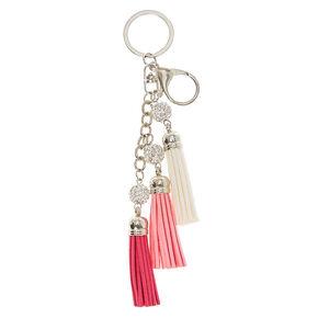 Mini Pink & White Tassel Keychain,