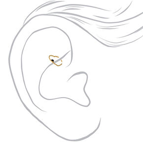 Gold 20G Crystal Heart Rook Earring,