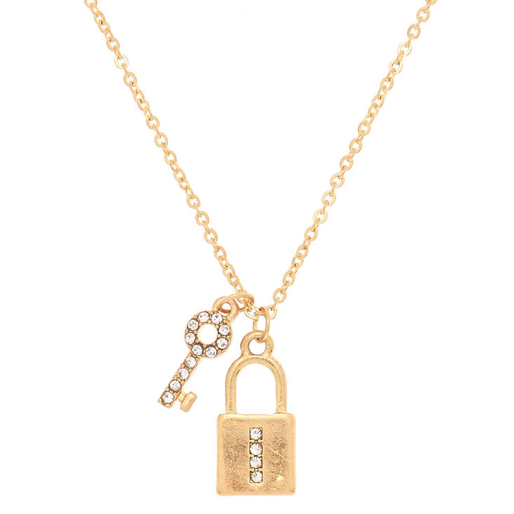 Gold Lock & Key Initial Pendant Necklace - I,
