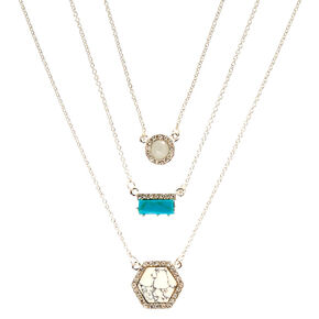 3 Pack Marble & Turquoise Pendant Necklaces,