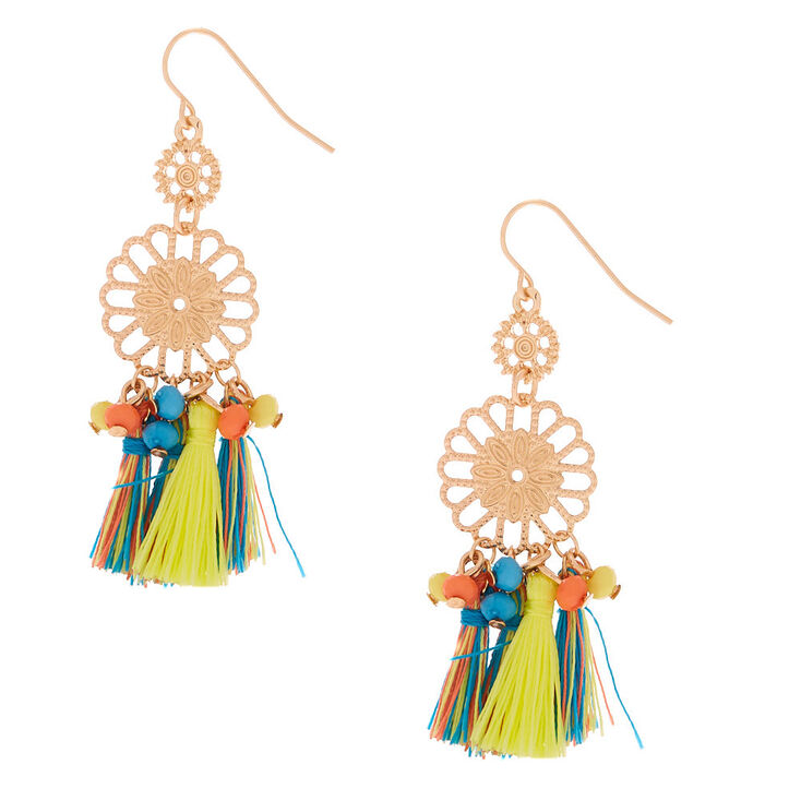 "Gold 2"" Filigree Tassel Beaded Drop Earrings,"