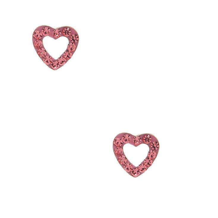 Sterling Silver Stone Heart Stud Earrings - Pink,