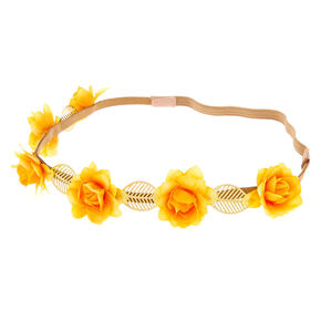 Gold Leaves & Rose Flower Crown - Mustard Yellow,