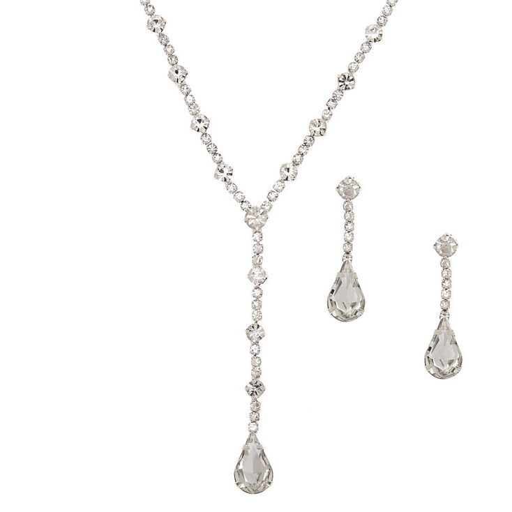 Silver Glass Rhinestone Teardrop Jewelry Set - 2 Pack,