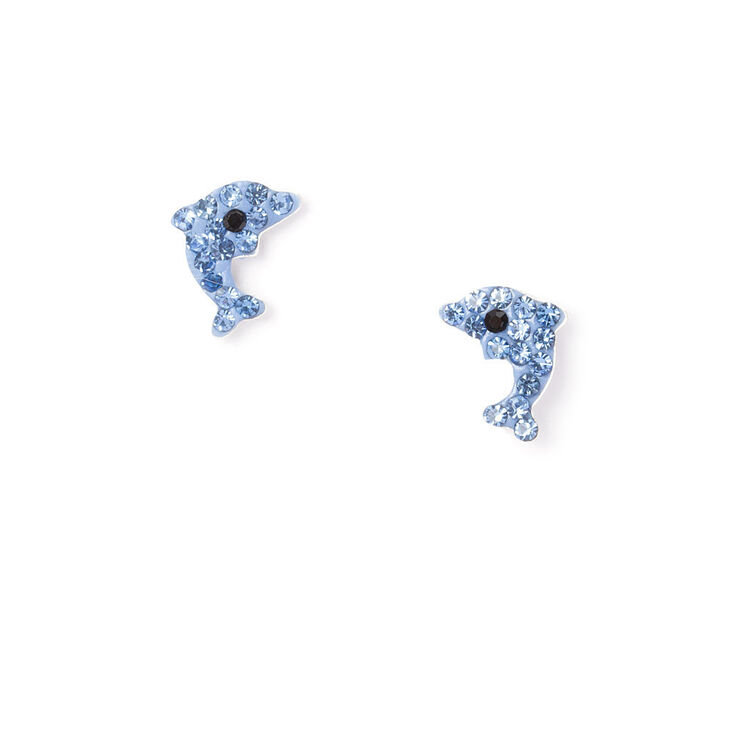 Sterling Silver Crystal Dolphin Stud Earrings,
