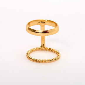Gold Sleek Twisted Double Row Midi Ring,