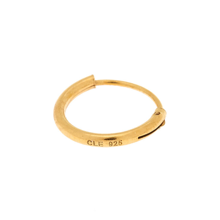 Gold Sterling Silver 10MM Cartilage Hoop Earring,