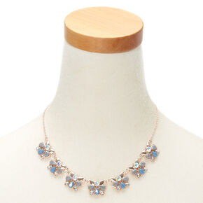 Floral Butterfly Statement Necklace - Blue,