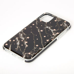 Black Marble Star Protective Phone Case - Fits iPhone 11,