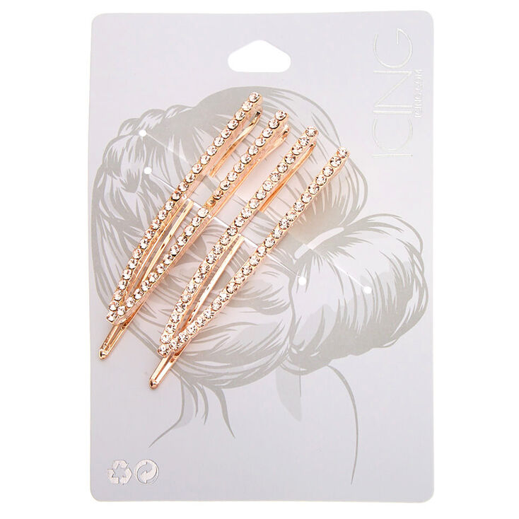Rose Gold Rhinestone Open Bobby Pins - 2 Pack,