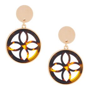 "Gold 1.5"" Wooden Tortoiseshell Drop Earrings - Brown,"