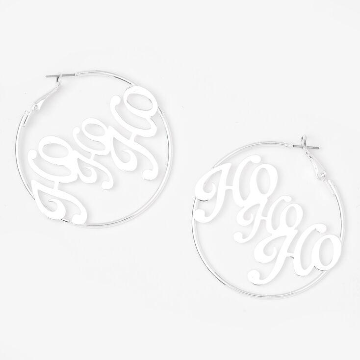 Silver 50MM Ho Ho Ho Hoop Earrings,