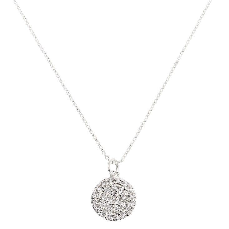 Silver Rhinestone Pavé Pendant Necklace,