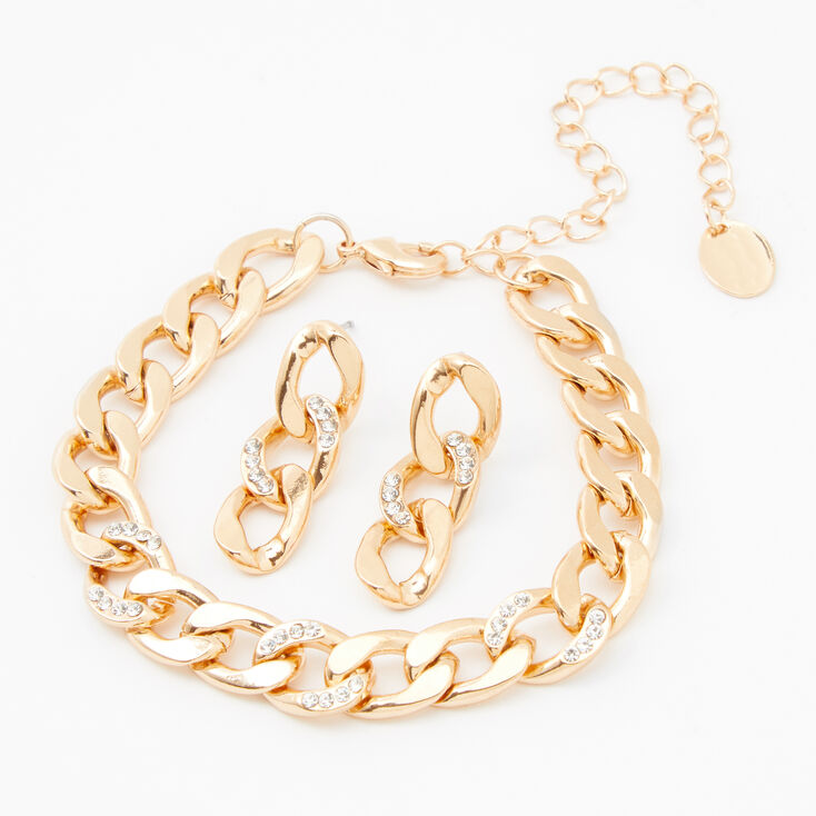 Gold Chain Link Jewelry Set - 2 Pack,