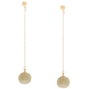 "Gold Ball 3"" Drop Earrings,"