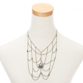 Spider Web Necklace - Silver,