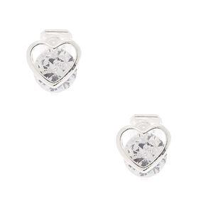 Silver Cubic Zirconia 8MM Heart Clip On Earrings,