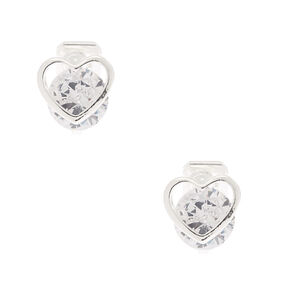 Silver Cubic Zirconia 8MM Heart Clip On Stud Earrings,