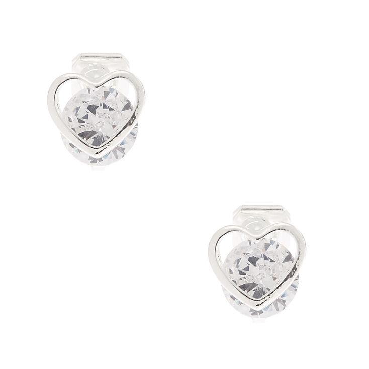 Silver Cubic Zirconia 8MM Heart Clip On Stud Earrings,