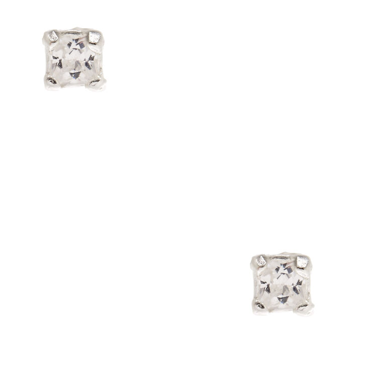 Sterling Silver Cubic Zirconia Square Stud Earrings,