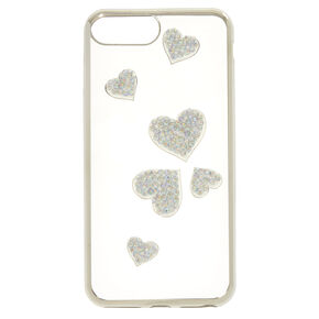 Stone Studded Heart Phone Case - Fits iPhone 6/7/8 Plus,